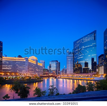 Looking east at the Chicago River at dusk. - stock photo