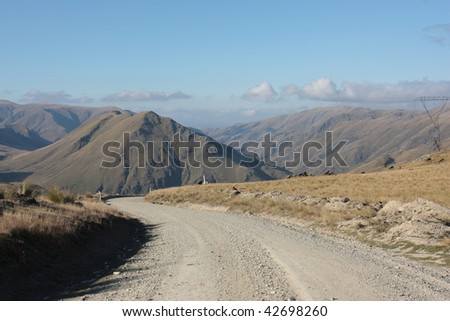 Looking east from the The top of the Danseys pass, Otago, New Zealand - stock photo