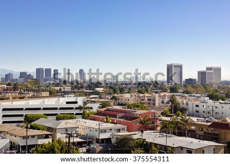 Looking east towards Century City and downtown Los Angeles from West LA - stock photo