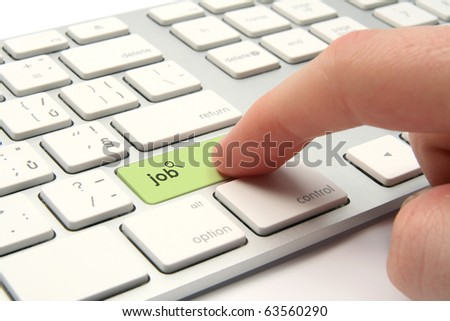 Looking for a job concept - keyboard with job button and magnifying glass icon