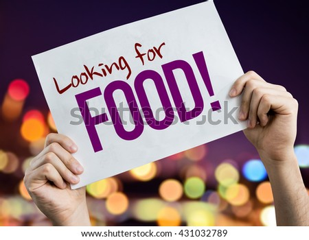 Looking for Food placard with night lights on background - stock photo