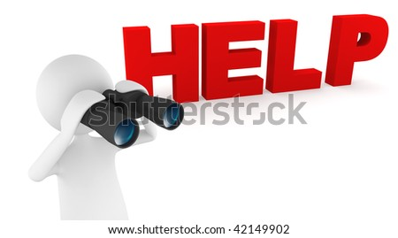 Looking for help. Concept depicting 3D man looking for help through binoculars - stock photo
