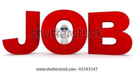 Looking for job. Looking for job concept depicting 3D man looking through O letter. - stock photo