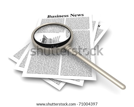 Looking for the latest business news. 3d rendered Illustration. Isolated on white. - stock photo