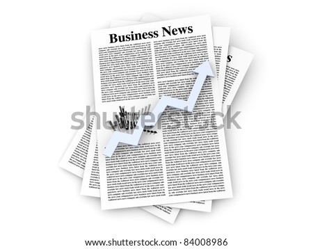 Looking for the latest business news. 3d rendered Illustration. Isolated on white.