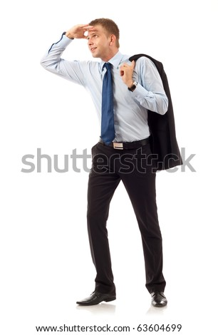 looking forward with big expectations - business man on white background