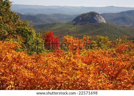 Looking Glass Rock on the Blue Ridge Parkway in NC Log Hollow Overlook - stock photo