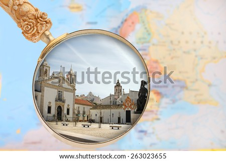 Looking in on Lagos, Algarve, Portugal with European map in the background - stock photo