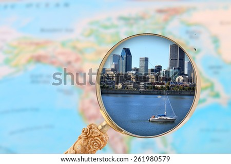 Looking in on Montreal Canada with map of North America in the background - stock photo