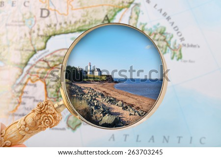 Looking in on Panmure Island lighthouse in PEI, Atlantic Provinces, Canada - stock photo