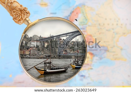 Looking in on Porto, Portugal with European map in the background - stock photo