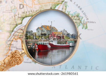 Looking in on some office or business buildings along the waterfront of Halifax, Nova Scotia, in the Maritime provinces of Canada - stock photo