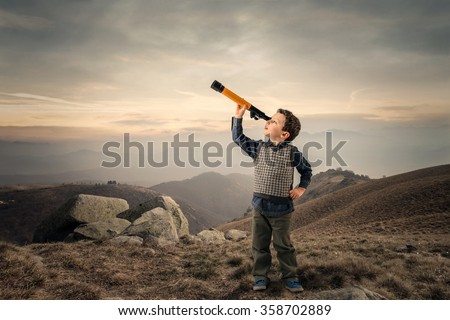 Looking in the distance - stock photo