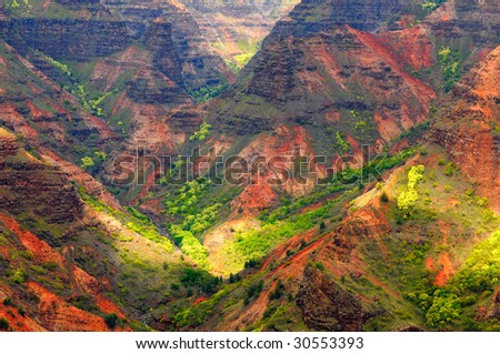 Looking into Waimea Canyon on the island of Kauai, Hawaii