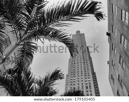 Looking Manhattan Skyscrapers from the street. - stock photo