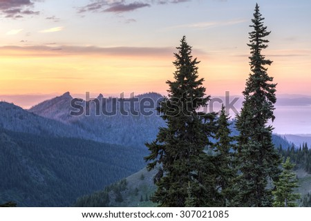 Looking North from Hurricane Ridge over Unicorn Peak toward the foggy Strait of Juan de Fuca and Vancouver Island in Olympic National Park, WA - stock photo