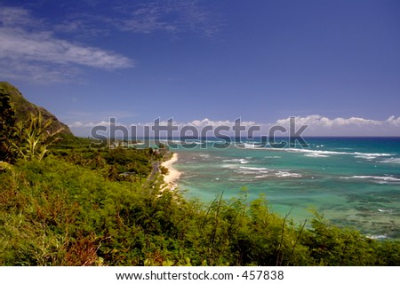 Looking north from Kualoa Ranch, Oahu - stock photo
