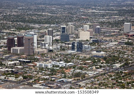 Looking northwest at midtown Phoenix, Arizona from above - stock photo