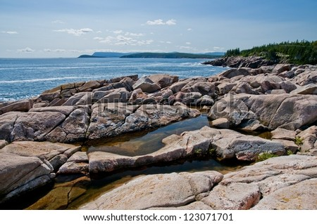 Looking on to the Atlantic ocean from a Cabot trail viewpoint - stock photo