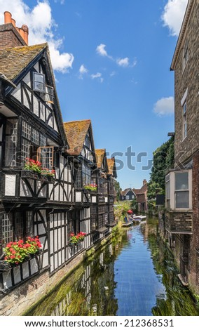 Looking on to the River Stour in Canterbury, Kent - stock photo