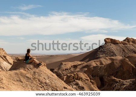 Looking out at Valle de la Luna, Chile, South America