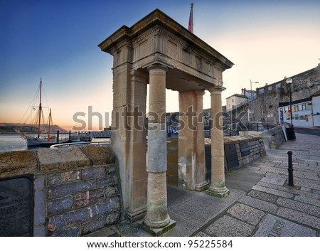Looking out from Pilgrims Point, above the Mayflower Steps Barbican, Plymouth - stock photo