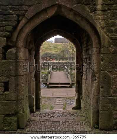 Looking out of the main entrance to Nunney castle in Somerset England - stock photo
