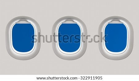 Looking out the windows of a plane to the beautiful blue sky - stock photo