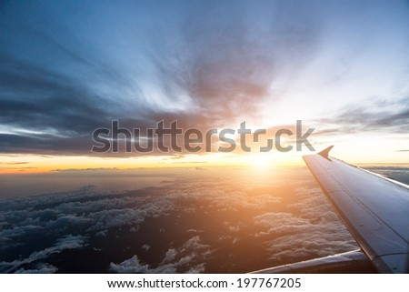 Looking Out Through Airplane Window - stock photo