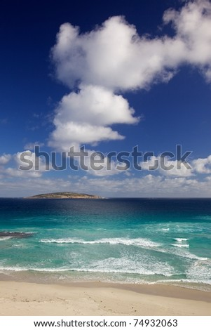 Looking out to sea from West Beach, at the town of Esperance, Western Australia. - stock photo