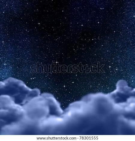 looking out to the stars in space or night sky through the clouds - stock photo