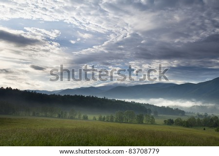 Looking out towards Cades Cove - stock photo