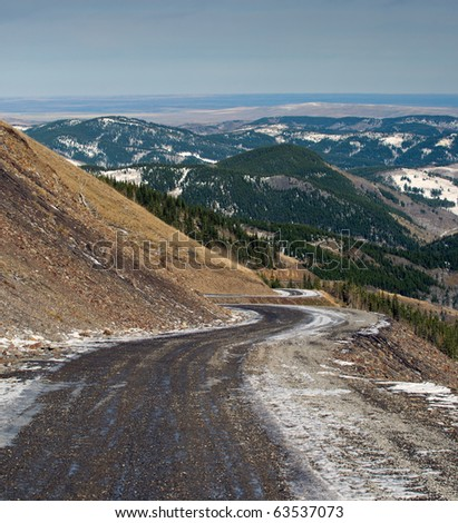 Looking over the Alberta prairies from the mountain foothills - stock photo