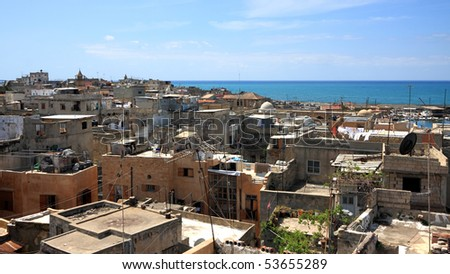 Looking over the rooftops of Old Town Sidon (Lebanon) - stock photo