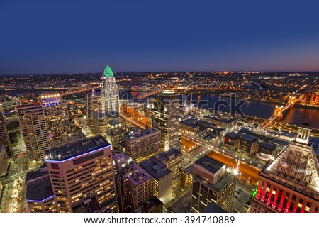 Looking south east at the beautiful skyline of downtown Cincinnati - stock photo