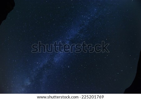 Looking straight up at milky way galaxy - stock photo