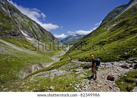 Looking the valley in pyrenees - stock photo