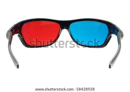 looking through a pair of 3d glasses isolated on white with clipping path - stock photo