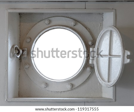 Looking through a ship's port-hole at a blank space that can be filled with any view