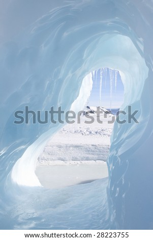 Looking through an ice cave