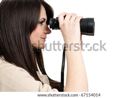 Looking through binoculars - stock photo