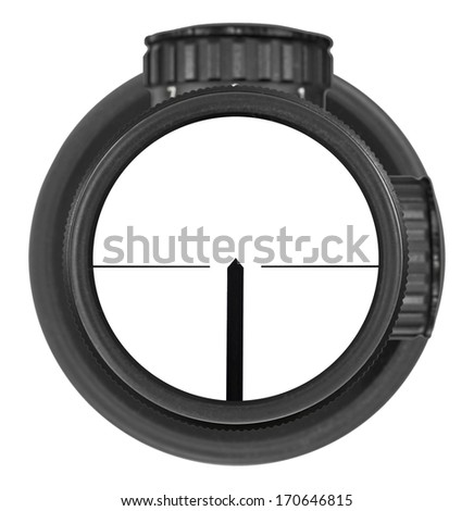 Looking through new rifle scope with German reticle, three clipping paths for creative work - stock photo