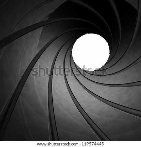 Looking through the barrel of a gun , 3d illustration - stock photo