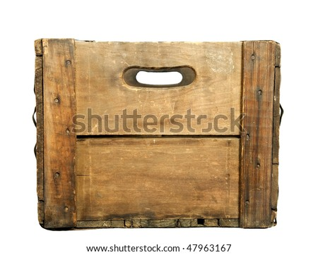 Looking through the handle holes of a wooden beer case, white iso. - stock photo