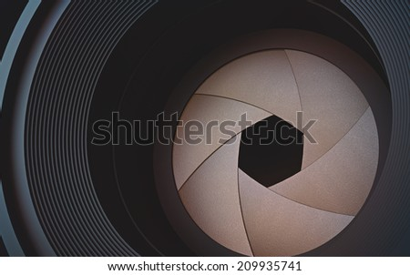 Looking through the lens camera. The diaphragm in macro photography. - stock photo