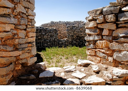 Looking through the old window on Salinas ruin site, New Mexico - stock photo