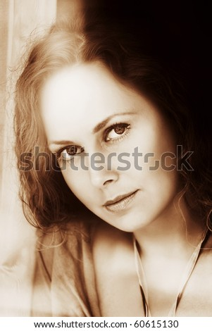 Looking through the window. - stock photo