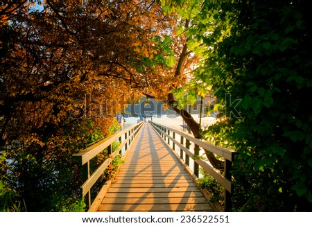 looking through to harbor jetty, Victoria, BC, Canada - stock photo