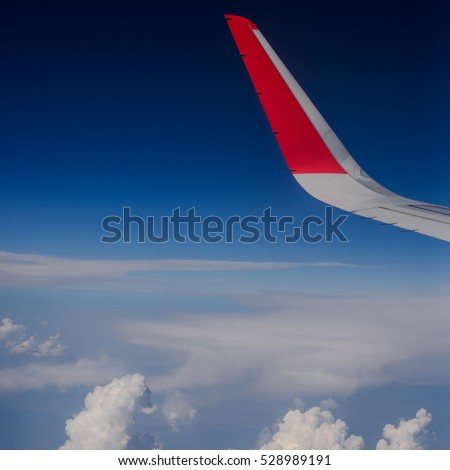 Looking through window aircraft, airplane flight