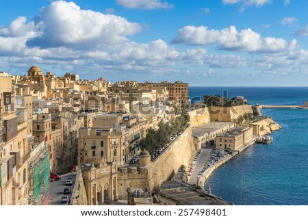 Looking to Lower Barrakka gardens from the upper gardens in Valletta - stock photo